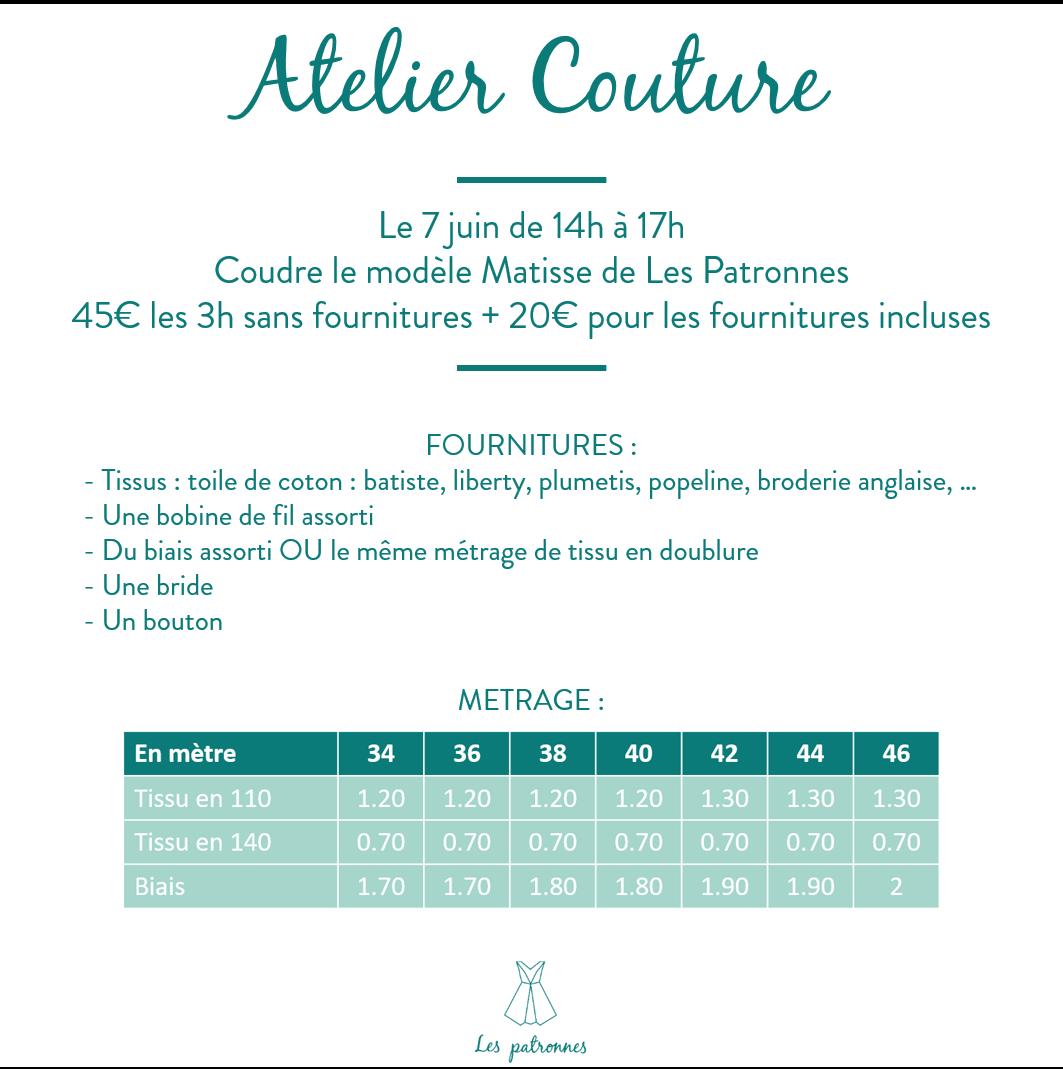 Atelier couture Les Patronnes Matisse