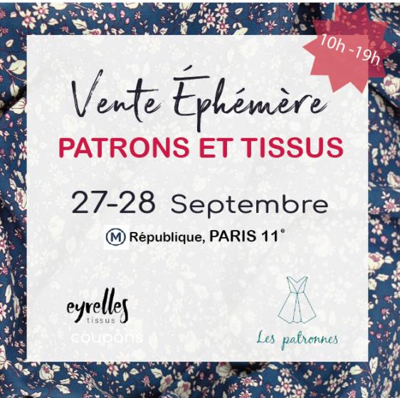 Vente de Patrons à Paris le 27-28 septembre