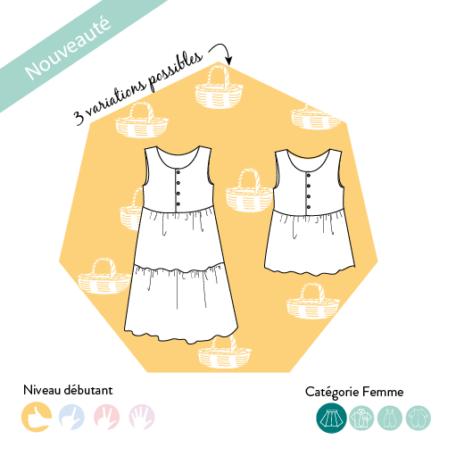 patron de couture facile accessible débutant boutonnée en haut, sans manche et jupe à volant. declinable top robe courte ou robe longue