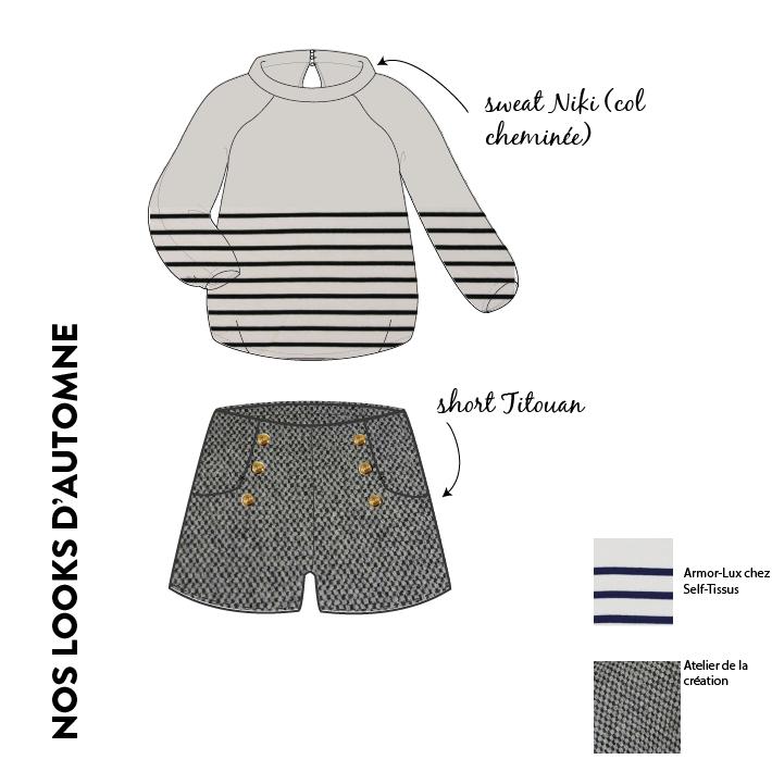 tendance automne short titouan en tweed et mariniere