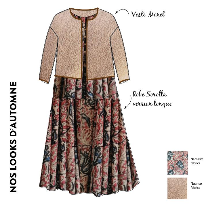 look tendance veste en mouton monet et patron robe sorolla tissus indien